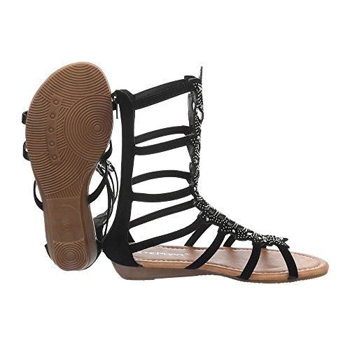 Ital-design Sandali Con Il Cinturino Scarpe Da Donna Con Cinturino E Sandali Con Cerniera Neri Jc-171