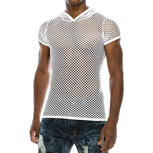 BURFLY Männer Netz Hemd Shirt, Herren Sommer Casual Muscle Pullover mit kurzen Ärmeln Mesh fit Underwear Shirt Top ()