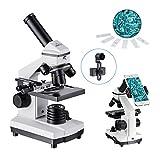 MAXLAPTER Monoculare Microscopio Professionale Portatile per Bambini, Zoom 100x 1000x, con Illuminazione a LED e Clip del Telefono, Adatto allo Studio, la Ricerca Biologica e Educazione Familiare