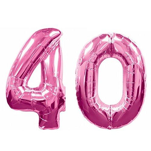 ocballoons® Palloncino 40 Anni Mylar Numero colore FUCSIA altezza 100 cm compleanno festa Gas elio - 40 Festa Di Compleanno
