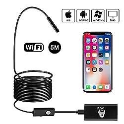 WiFi Endoskop, BEVA Kabelloses Endoskopkamera Wasserdichte Inspektionskamera 2.0 Megapixel 1200P HD mit LED für Android und IOS Smartphone, iPhone, Windows - 5M (Schwarz)
