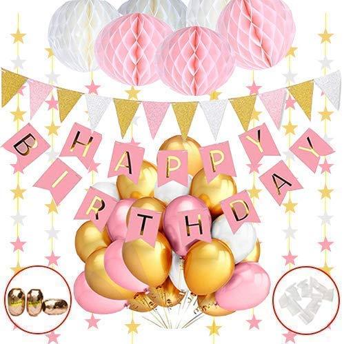 Hook Geburtstagsdeko, Deko Geburtstag Mädchen, Happy Birthday Girlande Dekoration mit 30pcs Ballon, Wabenbälle Weiß Rosa, Wimpelkette Erster Geburtstag,Partyset Kindergeburtstag Luftballons Rosa Gold