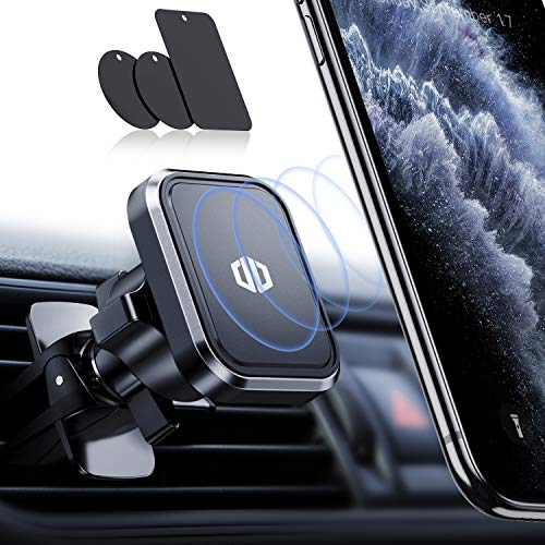 Handyhalterung Auto Magnet Handyhalter fürs Auto Lüftung mit 6 Rohmagnete aus Neodym und 3 Metallplättchen 360° Drehbar Universal für iPhone11 11 Pro Samsung Galaxy Note 10 S10, HTC, LG, Huawei usw.