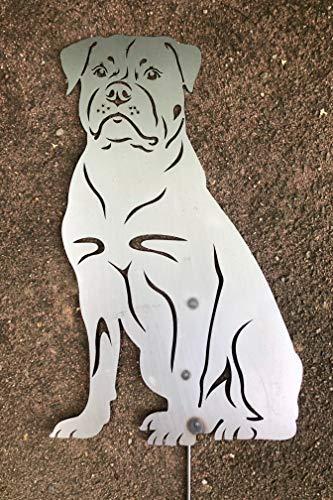 Terma Stahldesign Rottweiler höhe 30 cm (mit Spieß 50 cm), Edelrost Hund, Rostfigur, Gartenfigur, Rost Figur -