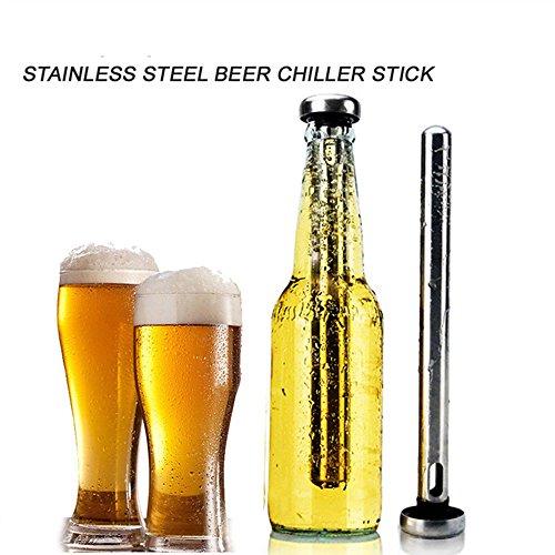 Merrday Bierkühlstock, Bier-Kühler-Stock-Edelstahl-Weinkühler-Bier-Getränk Kälterer U. Längerer Wein-Zusätze für für Haus-Stab-im Freienstrand-Partei BBQ-Trinken, 2 Satz