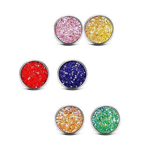 Legierung Silber Drusen Ohrstecker Set 20 Paare Einfach Schick Silber Ohrringe für Herren Mädchen Ohrringe schmucks (Herren-diamant-cluster-ohrringe)