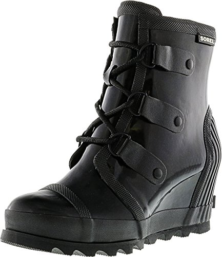 Sorel Womens Joan Rain Wedge Gloss Rubber Boots Nero