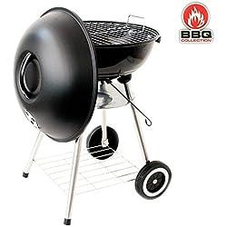 BBQ Collection Barbecue en acier inoxydable à couvercle avec 3réglages de chaleur,45cm, avec roues pour le déplacer - barbecue à couvercle ventilé avec système de tirage de l'air pour réguler l'aération de la flamme du barbecue, grill rond utilisable avec charbon, charbon et bois, idéal pour pique-nique de jardin, en terrasse, balcon, réf.89871