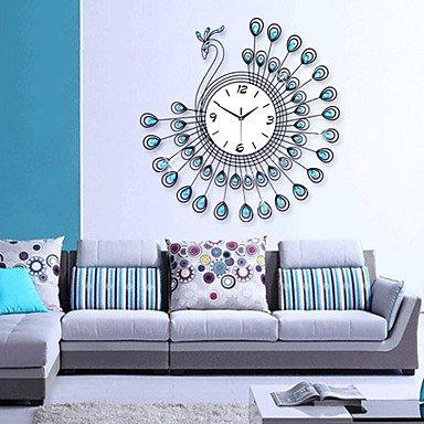 Y & M savourant moderne mural Paon orologio-blu + Noir