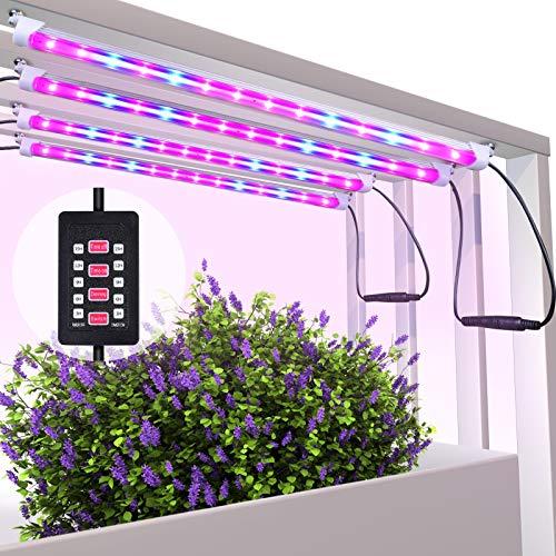 MIXC Led Pflanzenlampe Vollspektrum 40W 56 LEDs Grow Light mit automatisch Timer (3/6/9/12/15H) An aus, Dimmbar 5 Stufen für Samen Pflanze Blumen mit 10 Pflanzenetiketten 2 Gartengeräte