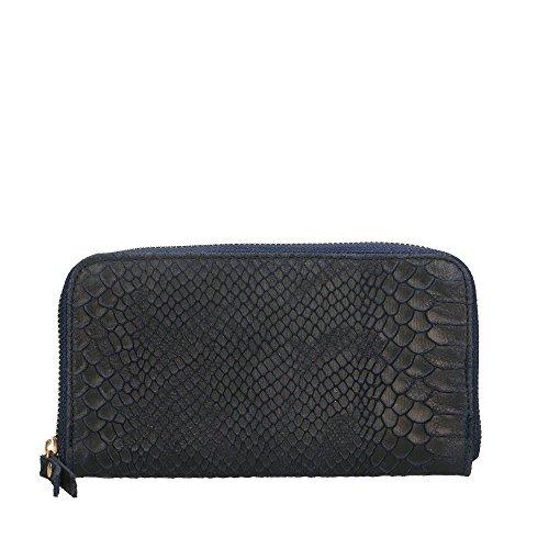 e99f505902 Portafoglio da Donna in Vera Pelle Made in Italy Stampa Pitonata Chicca  Borse 20x11x3 Cm Blu