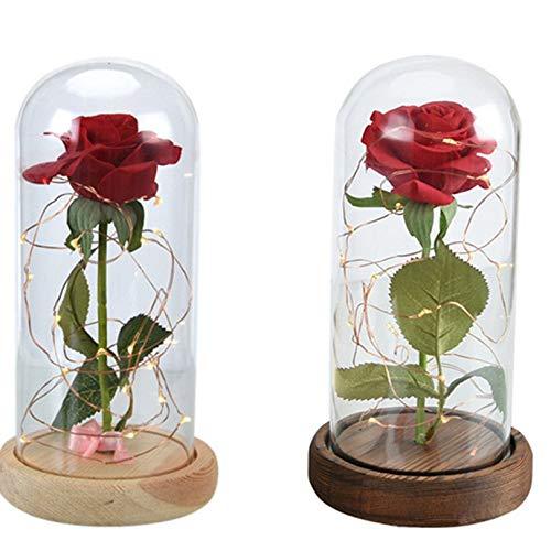 Romantische batteriebetriebene LED-Nachttischlampe Rote Rose in einer Glaskuppel auf einem Holzsockel Süße Valentinstag Geschenke-Raum-Dekoration