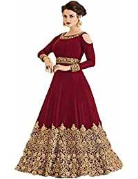 Sai Saree Suits Women's Designer Anarkali Semi-stictched Red Color Georgette Salwar Suit