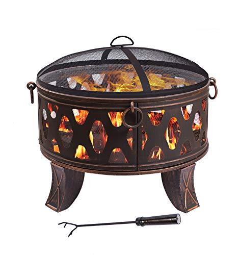 feuerschale 80 Stahl Feuerschale 70,5cm antik Feuerstelle schwarz Klassik Stil Feuerkorb robust Schürhaken Standbeine Schutzdeckel Funkenhaube