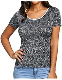 423e349c4b0ec2 Estivo Donne Sottile Maglietta Casual Rotondo Collo Maniche Corte Basic  Cime T-Shirt Moda Pizzo Cucitura Tops con…