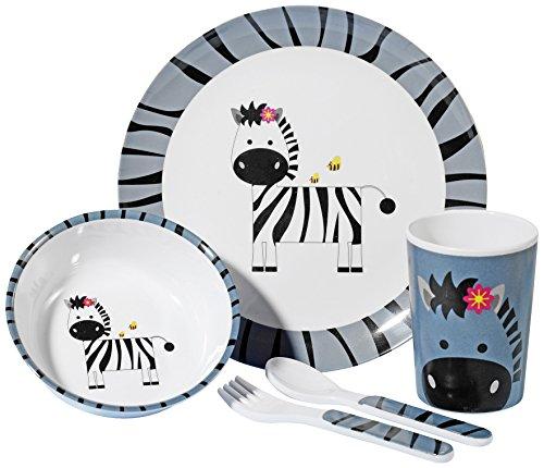 Esmeyer 433-288 Kindergeschirrset mit dem Zebra STRIPES  aus 100% Melamin  Set bestehend aus je einem