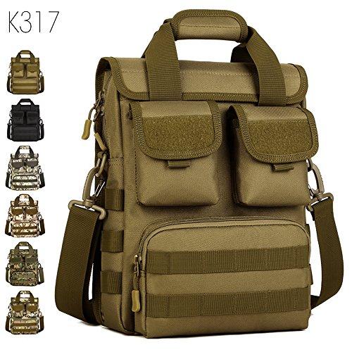 FLYHAWK Taktisch Molle Beutel Schulter Tasche, Rucksack Handtasche Umhängetasche mit Gurt K316-Braun