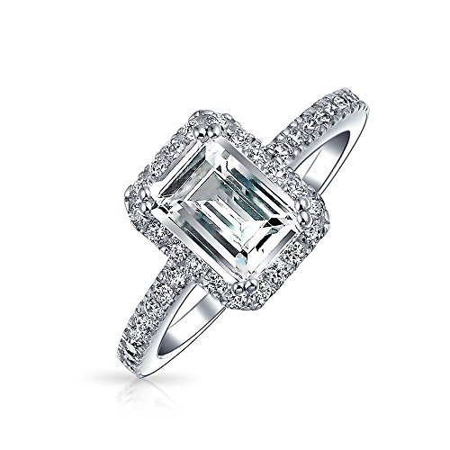 2 CT Emerald Cut Zirkonia Thin ebnen Band Halo CZ Deco Style 925 Sterling Silber Engagement Versprechen Ring für Frauen - 2ct Ring Cz Engagement