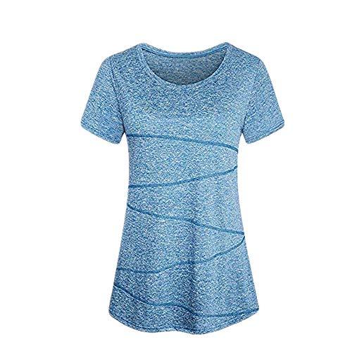 Kobay Sportshirt Damen Kurzarm Locker Bluse Yoga Oberteile Activewear Running Workout T-Shirt(S,Blau) Satin Elegante Top Hat