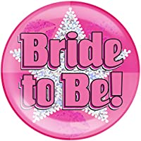 "6"" Jumbo Badge Bride To Be Holographic Dot"
