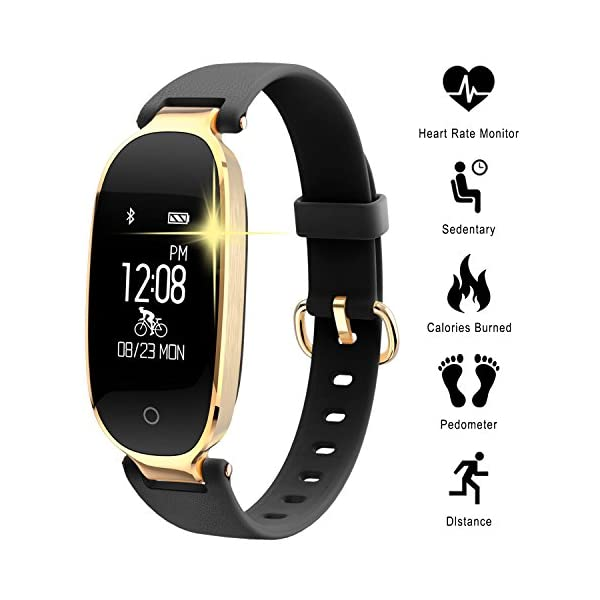 WOWGO Fitness Tracker For Women Heart Rate Monitors Step Counter Activity Trackers Smartwatches Bracelet IP67 Waterproof Bluetooth Pedometer Wristband With Sleep Monitor For Android IOS Smartphone