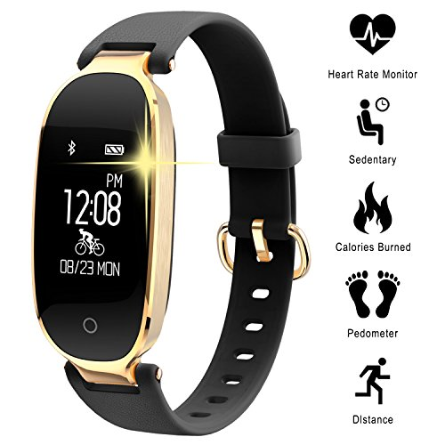 Pulse Monitor Activity Monitor Heart Rate Monitor and Pedometer for Women Waterproof IP67, with Bluetooth Step Counter and Sleep Monitor for Smartphones with Android and iOS: iPhone, Samsung by WOWGO