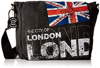 London Union Jack Messenger Bag | Canvas Bag Black | Robin Ruth UK | Satchel Bag | London Souvenirs School Bags for Girls Boys & Teenager Flight Bag