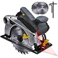 Handkreissäge, Ginour Professional Kreissäge 1500W 4700 RPM mit Laser maximale Schnitttiefe 65mm (90°) und 45mm (45°), (24T /40T) 2 Klinge zum Schneiden von Holz, Weichmetall, Klempnerarbeiten