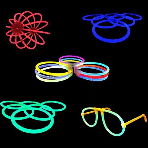 (100 Knicklichter, Glow Sticks, Leuchtsticks+5 Leuchtbrille+5 Leucht Haarreifen+100Konnektoren+Kreisverbinder)