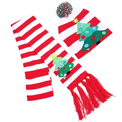 tze und Schal Kinder mit LED Nikolausmütze Xmas Weihnachten Hüte Mütze Winter Hut Urlaub Loopschal Beanie Cap Baby EINWEG verpackung ()