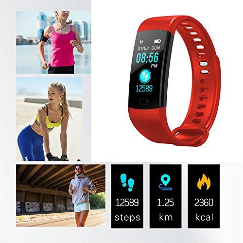 TechCode Fitness Tracker mit Farbbildschirm, Smart Armband Uhr mit Blutdruck Pulsmesser Armband IP67 Wasserdichte Aktivität Fitness Tracker Pedometer Smart Band (Rot)