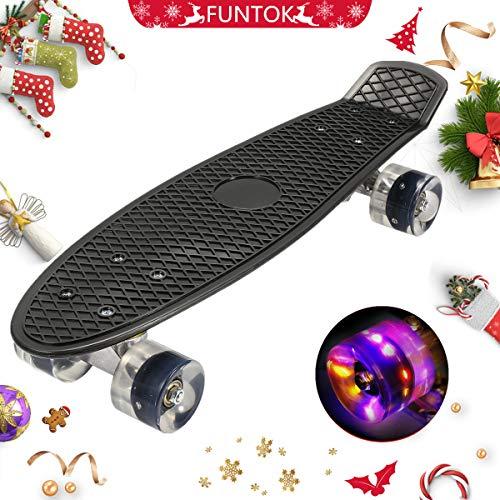 FUNTOK Kinder Skateboard Schieber Mini Cruiser Board mit LED Leuchtrollen Kunststoff Board PU Komplettboard Anfäner 22 Zoll