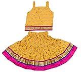 Disha Girls Lehenga choli ethnic wear rayon Polka print Ghagra Choli (Yellow, 3-4 Years)