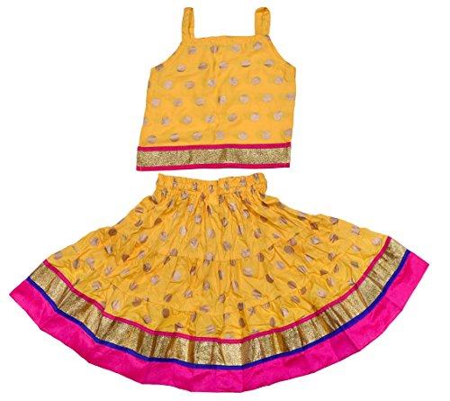 Disha Girls Lehenga choli ethnic wear rayon Polka print Ghagra Choli (Yellow,...