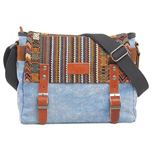 MissFox Uomini Borsa A Tracolla Canvas Bag Multifunzione Messenger Bag Viaggio Blu