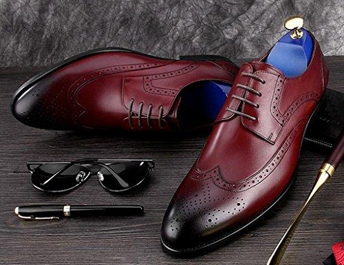 Scarpe Uomo in Pelle Scarpe da uomo in pelle traspirante Retro stile britannico appuntito a mano scarpe da lavoro casual ( Colore : Nero , dimensioni : EU40/UK6.5 ) Vino Rosso
