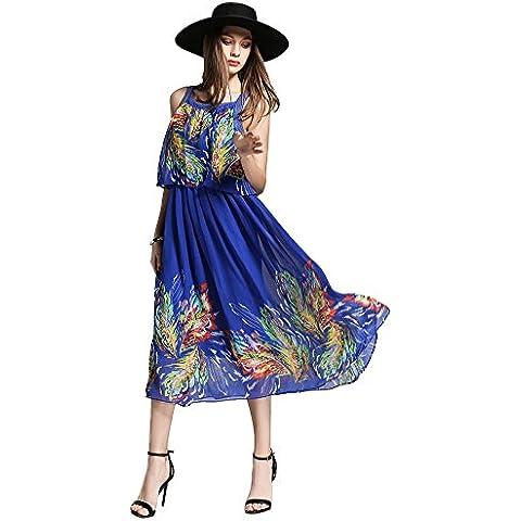 misseurous imitacion vestido largo sin mangas impresión en gran Hem vestido de dos piezas de la