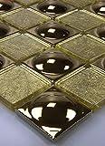 Bador 11 Matten 1m² Glasmosaik Mosaik Fliesen Mosaikfliesen Glasfliesen Glas Edelstahlkugeln Gold 30x30