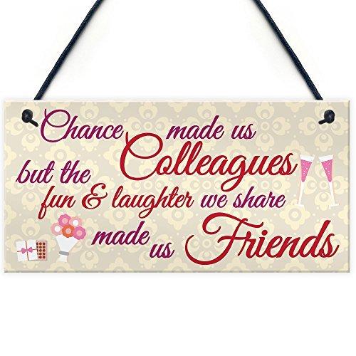 Monsety rustikales Zitat zum Aufhängen, für Zuhause, Chance, Made Us Colleagues, Freundschaft, Herz-Geschenk, Best Friend Schild aus Holz