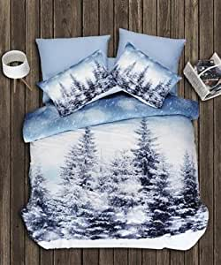 5 tlg ranforce bettw sche bettgarnitur 3d effect 200x200 cm model winterlandschaft. Black Bedroom Furniture Sets. Home Design Ideas