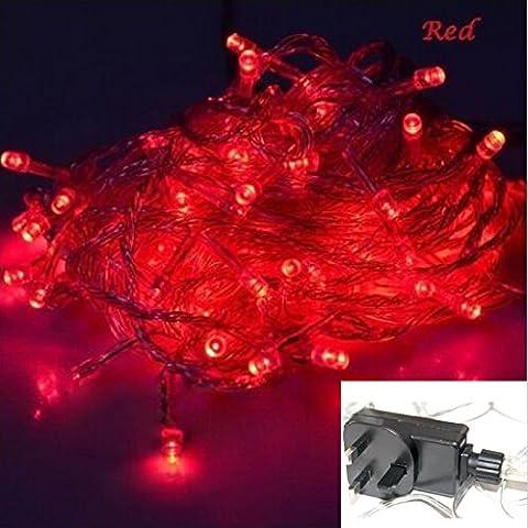 Rezolo® 100/200/300impermeable LED 12M/22M/32M guirnalda de luces para Navidad, fiestas, luces de Navidad, fiesta de cumpleaños luces interior/exterior con enchufe británico (no necesita pilas), Rojo, 100 ledes