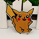 Coolpart Pokémon Pikachu Iron on patches Jaune Animal Patch Dessin animé brodée...