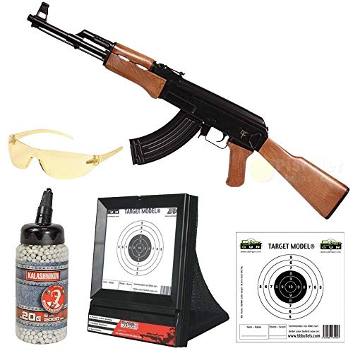 Saigo Pack Complet Airsoft AK47 AEG électrique (0.5 Joule)-Semi/Full Automatique-livré avec Accessoires