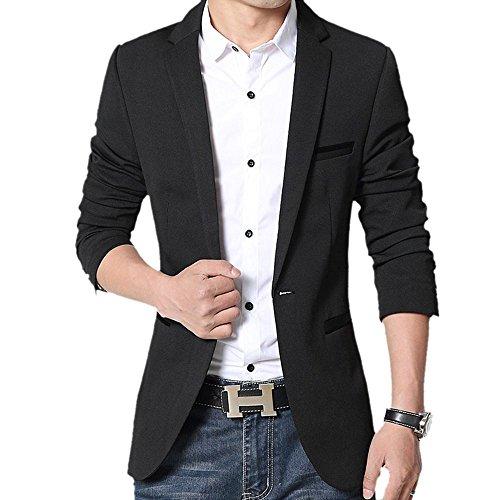 donhobo Herren Sakko Slim Fit Freizeit Blazer Casual Männer Business Anzug Jacke(Schwarz,L)
