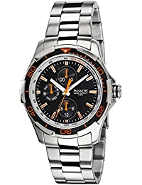 Accurist Mens Black Face Stainless Steel Bracelet Watch MB1161BO