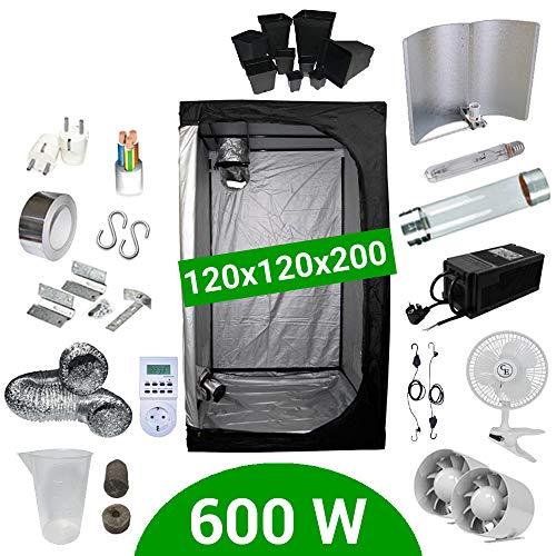 Kit de cultivo interior 600W SHP Cooltube - Armario 120x120x200 - Bala