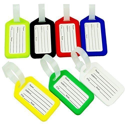 Preisvergleich Produktbild CSTOM® (7-Stück,7-Farbe) Kofferanhänger Gepäckanhänger Kofferschild mit Adressschild 230041