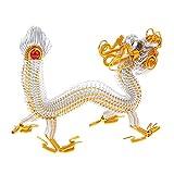 MagiDeal Handgefertigte Chinesische Drache Modell Metall Handwerk Schreibtisch Ornament - Silber