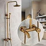 miaoge Messing antik Badewanne Dusche Wasserhahn mit 20,3cm Duschkopf + Handbrause