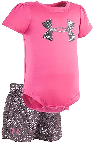 Under Armour Baby Girls' Bodysuit and Short Sets (Tropic Pink (27C82050-66)/Grey, 3-6 Months) (Tropic Kurze)